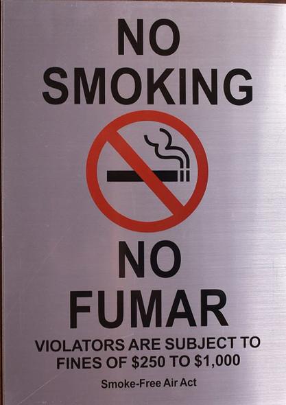 No Smoking English/Spanish  Smoke Free Act