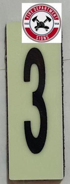 PHOTOLUMINESCENT DOOR NUMBER 3 SIGN HEAVY DUTY