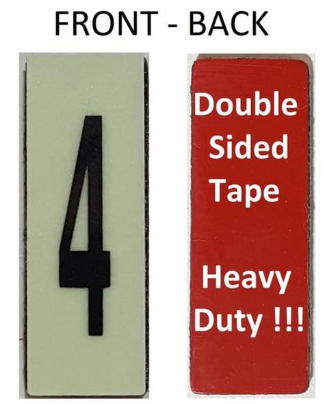 PHOTOLUMINESCENT DOOR NUMBER 4 SIGN HEAVY DUTY  Signage