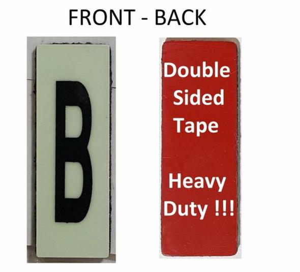 PHOTOLUMINESCENT DOOR NUMBER B SIGN HEAVY DUTY