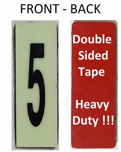 PHOTOLUMINESCENT DOOR NUMBER 5 SIGN HEAVY DUTY  Signage