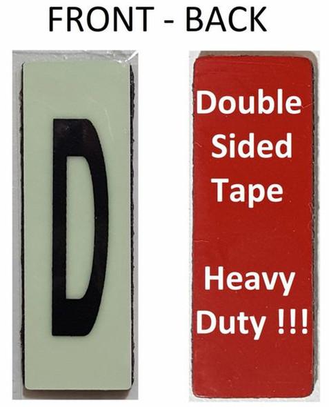 PHOTOLUMINESCENT DOOR NUMBER D SIGN HEAVY DUTY  Signage