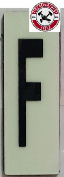 PHOTOLUMINESCENT DOOR NUMBER F SIGN HEAVY DUTY