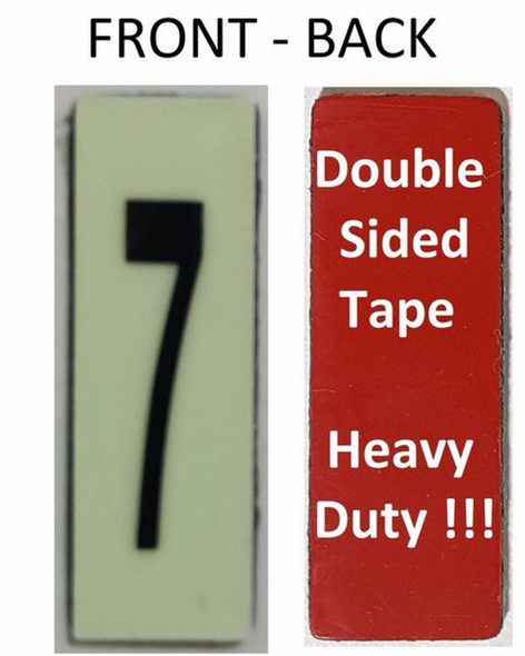 PHOTOLUMINESCENT DOOR NUMBER 7 SIGN HEAVY DUTY  Signage