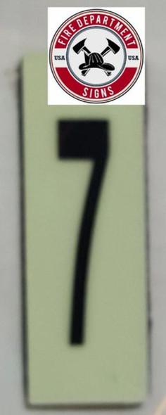 PHOTOLUMINESCENT DOOR NUMBER 7 SIGN HEAVY DUTY