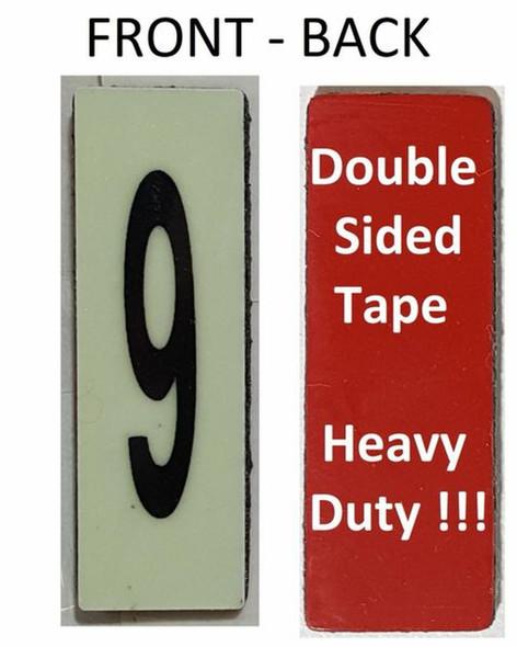 PHOTOLUMINESCENT DOOR NUMBER 9 SIGN HEAVY DUTY  Signage