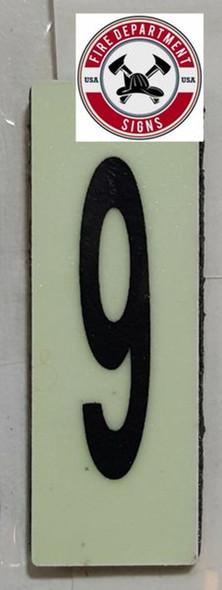 PHOTOLUMINESCENT DOOR NUMBER 9 SIGN HEAVY DUTY