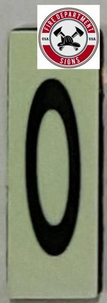 PHOTOLUMINESCENT DOOR NUMBER 0 SIGN HEAVY DUTY