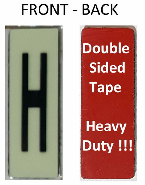 PHOTOLUMINESCENT DOOR NUMBER H SIGN HEAVY DUTY  Signage