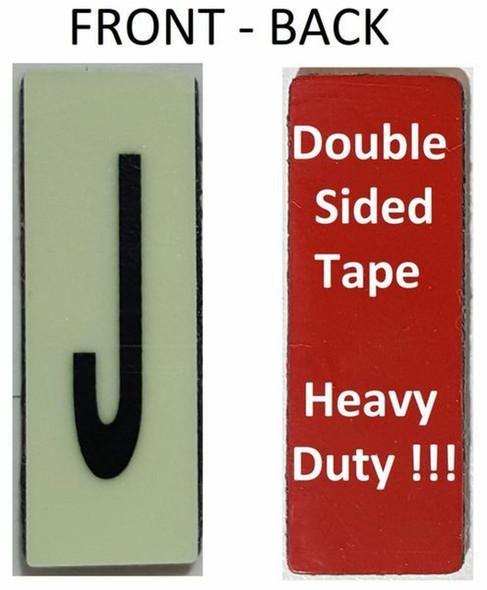 PHOTOLUMINESCENT DOOR NUMBER J SIGN HEAVY DUTY  Signage
