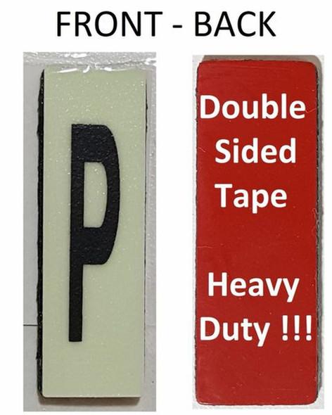 PHOTOLUMINESCENT DOOR NUMBER P SIGN HEAVY DUTY  Signage