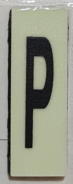 PHOTOLUMINESCENT DOOR NUMBER P SIGN HEAVY DUTY