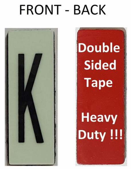 PHOTOLUMINESCENT DOOR NUMBER K SIGN HEAVY DUTY  Signage