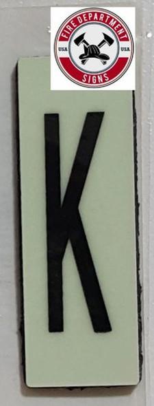 PHOTOLUMINESCENT DOOR NUMBER K SIGN HEAVY DUTY