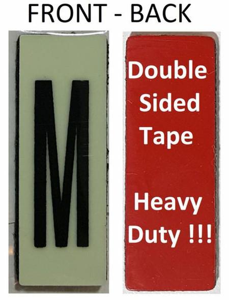 PHOTOLUMINESCENT DOOR NUMBER M SIGN HEAVY DUTY  Signage