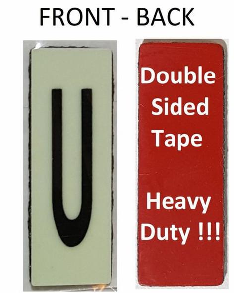 PHOTOLUMINESCENT DOOR NUMBER U SIGN HEAVY DUTY  Signage