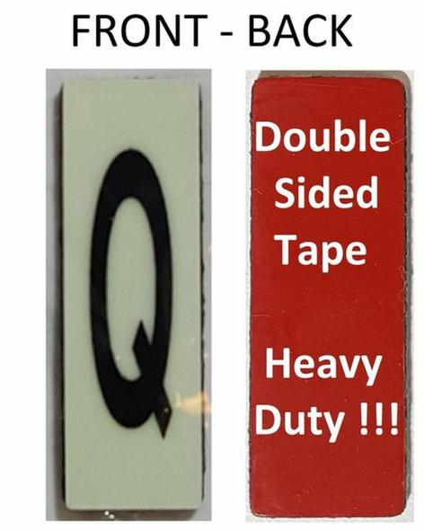 PHOTOLUMINESCENT DOOR NUMBER Q SIGN HEAVY DUTY  Signage