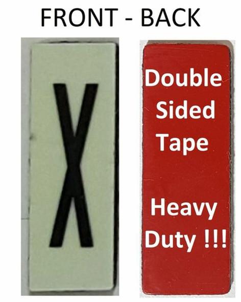 PHOTOLUMINESCENT DOOR NUMBER X SIGN HEAVY DUTY  Signage