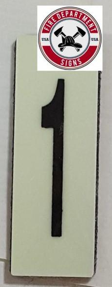 PHOTOLUMINESCENT DOOR NUMBER 1 SIGN HEAVY DUTY