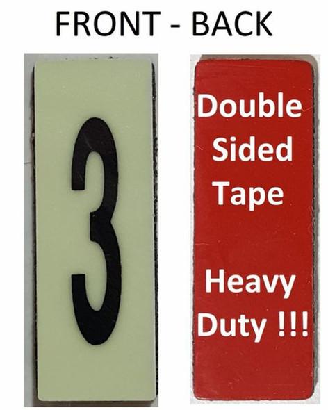 PHOTOLUMINESCENT DOOR NUMBER 3 SIGN HEAVY DUTY  Signage