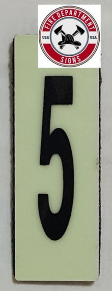 PHOTOLUMINESCENT DOOR NUMBER 5 SIGN HEAVY DUTY