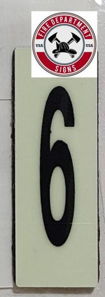 PHOTOLUMINESCENT DOOR NUMBER 6 SIGN HEAVY DUTY  Sign