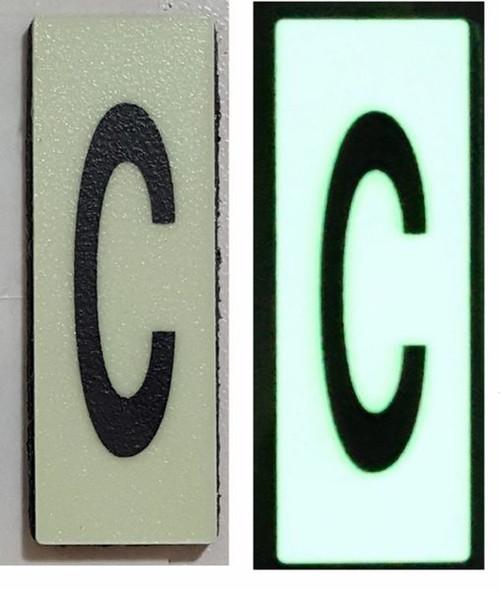 PHOTOLUMINESCENT DOOR NUMBER C SIGN HEAVY DUTY