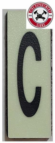 PHOTOLUMINESCENT DOOR NUMBER C SIGN HEAVY DUTY  Sign