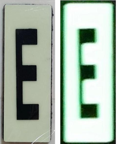 PHOTOLUMINESCENT DOOR NUMBER E SIGN HEAVY DUTY