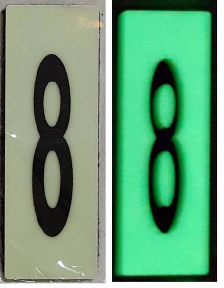 PHOTOLUMINESCENT DOOR NUMBER 8 SIGN HEAVY DUTY