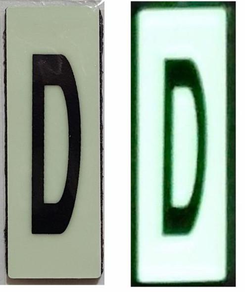 PHOTOLUMINESCENT DOOR NUMBER D SIGN HEAVY DUTY