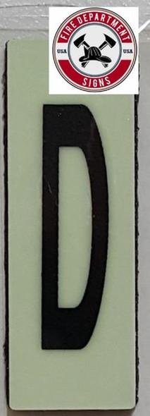 PHOTOLUMINESCENT DOOR NUMBER D SIGN HEAVY DUTY  Sign