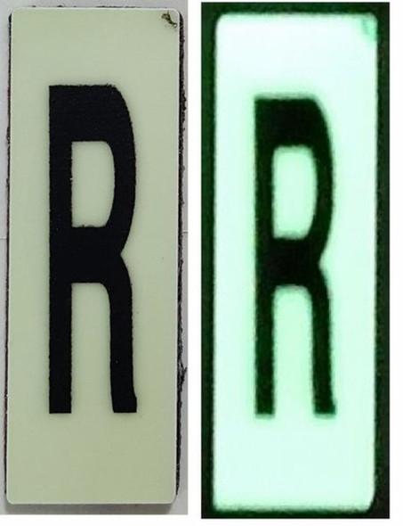 PHOTOLUMINESCENT DOOR NUMBER R SIGN HEAVY DUTY