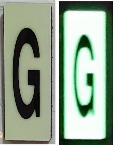 PHOTOLUMINESCENT DOOR NUMBER G SIGN HEAVY DUTY