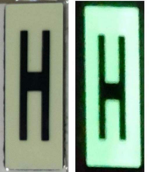 PHOTOLUMINESCENT DOOR NUMBER H SIGN HEAVY DUTY