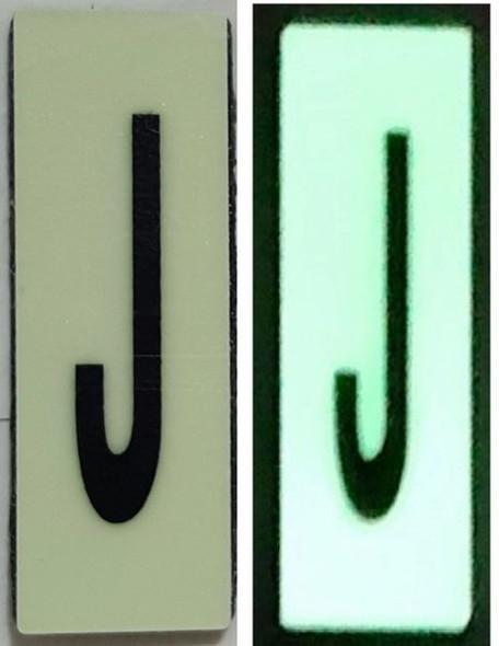 PHOTOLUMINESCENT DOOR NUMBER J SIGN HEAVY DUTY