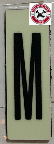 PHOTOLUMINESCENT DOOR NUMBER M SIGN HEAVY DUTY  Sign