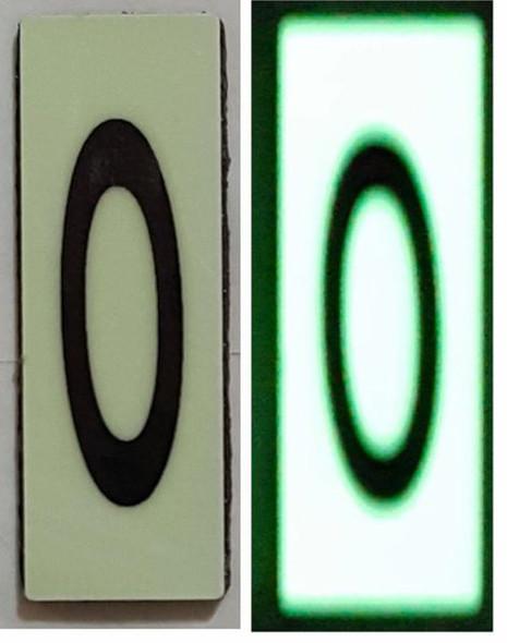 PHOTOLUMINESCENT DOOR NUMBER O SIGN HEAVY DUTY