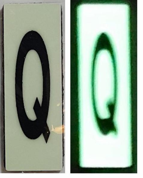 PHOTOLUMINESCENT DOOR NUMBER Q SIGN HEAVY DUTY