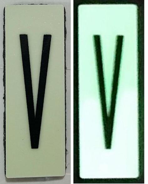 PHOTOLUMINESCENT DOOR NUMBER V SIGN HEAVY DUTY