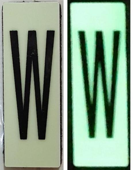 PHOTOLUMINESCENT DOOR NUMBER W SIGN HEAVY DUTY