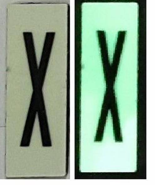 PHOTOLUMINESCENT DOOR NUMBER X SIGN HEAVY DUTY