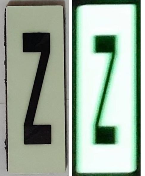 PHOTOLUMINESCENT DOOR NUMBER Z SIGN HEAVY DUTY
