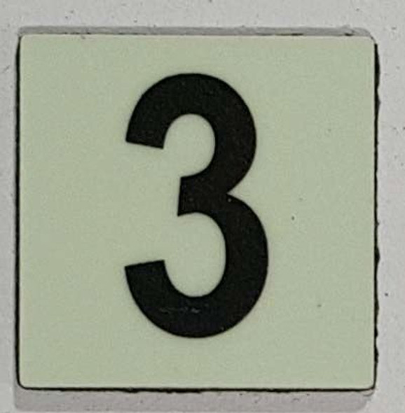 Glow in dark Number 3 sign The Libert  Sign