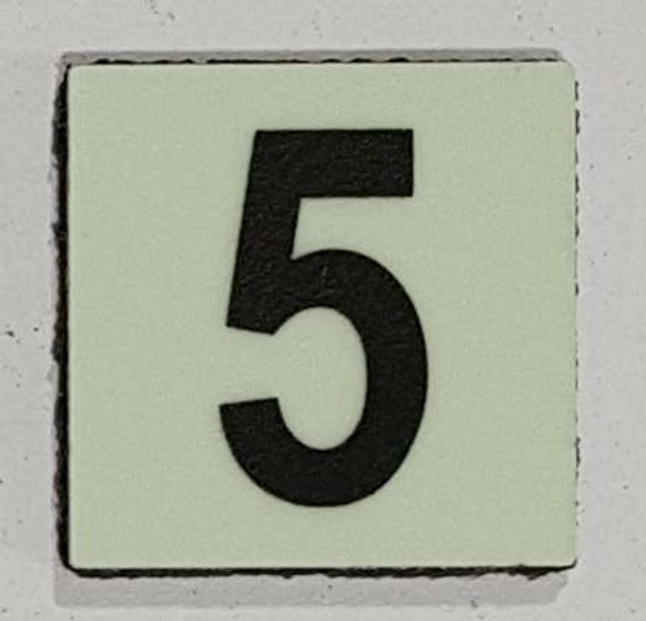 Glow in dark Number 5 sign The Libert  Sign