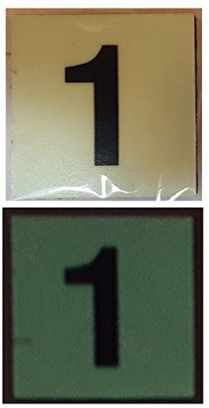 PHOTOLUMINESCENT DOOR NUMBER 1 SIGN GLOW IN DARK