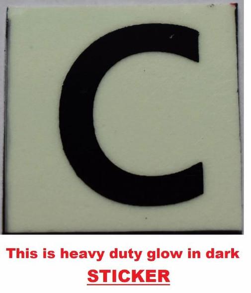 PHOTOLUMINESCENT DOOR NUMBER C SIGN GLOW IN TH  Sign