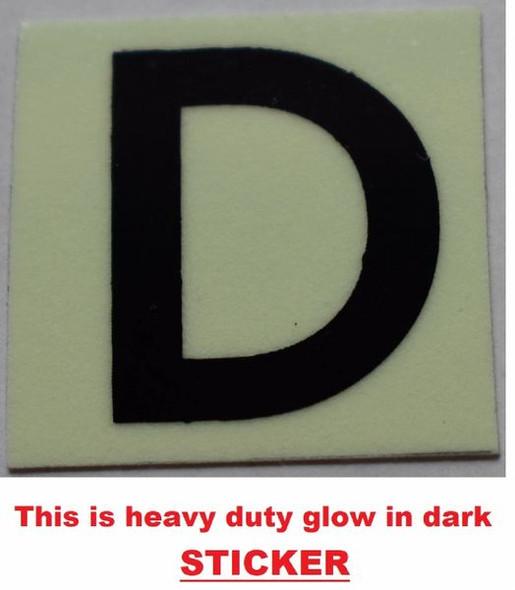 PHOTOLUMINESCENT DOOR NUMBER D SIGN GLOW IN DARK