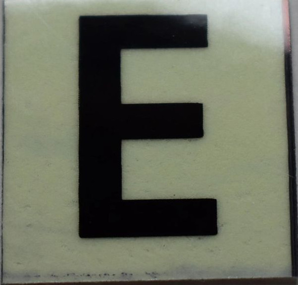PHOTOLUMINESCENT DOOR NUMBER E SIGN GLOW IN DARK