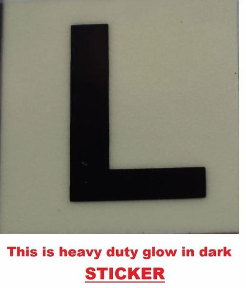 PHOTOLUMINESCENT DOOR NUMBER L SIGN GLOW IN DARK